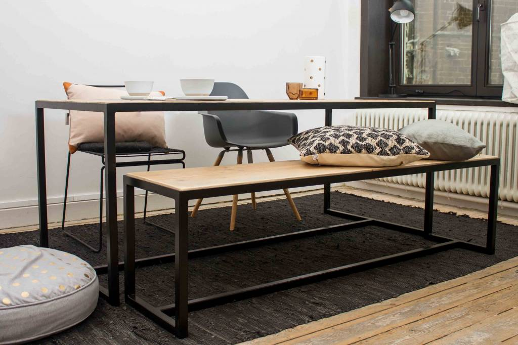 Pure wood design industriele tafel steigerhout met for Danish design meubels