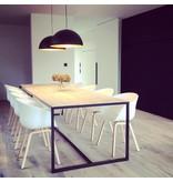PURE wood design Table industrielle en bois d'échafaudage avec un table feuilles profonde et un cadre en acier