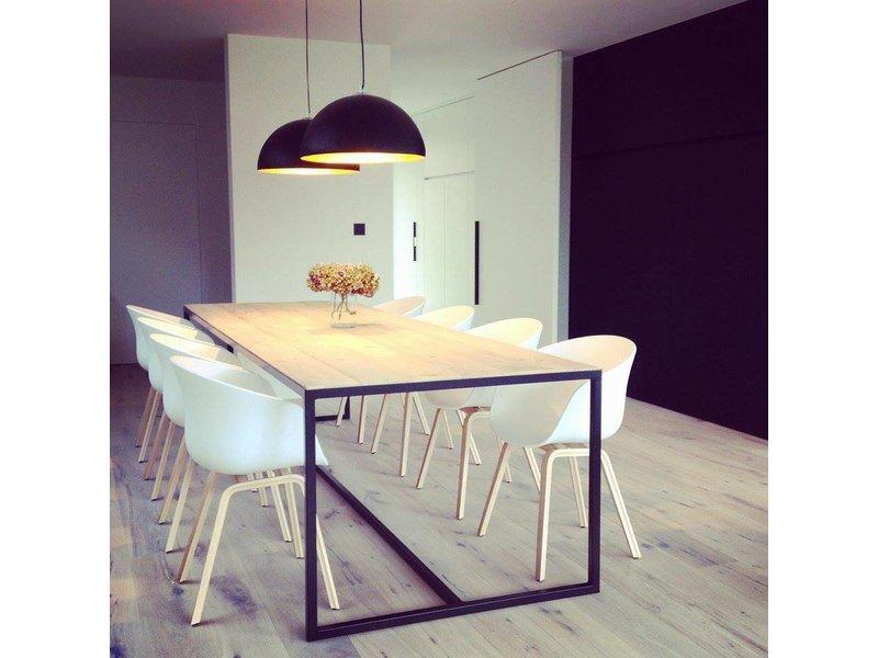 PURE wood design 'Hedensted' industriële tafel steigerhout ingelegd blad/stalen frame