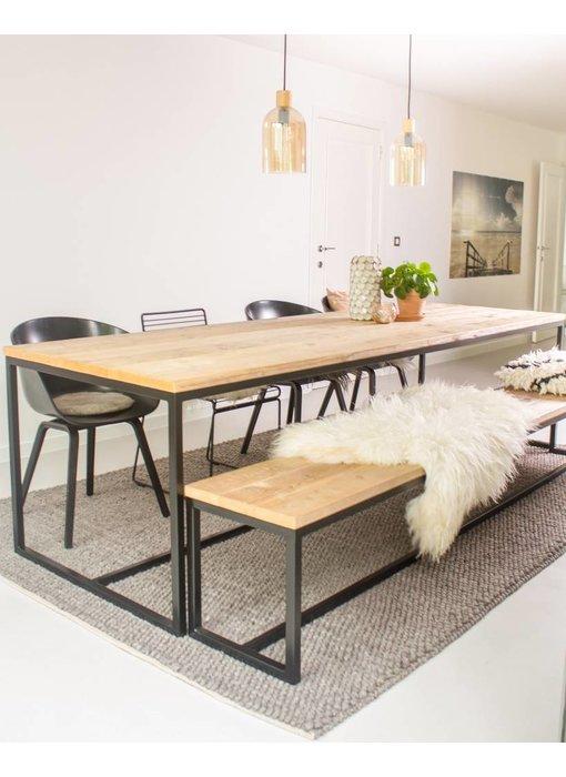 PURE wood design 'Brandal' industriele tafel steigerhout/stalen frame