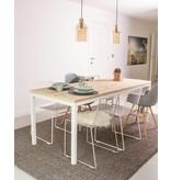 'Flora' industriële tafel steigerhout rechte poten staal