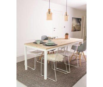 Flora industriële tafel steigerhout rechte poten staal