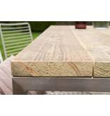 'Alta ' Industriele tafel steigerhouten blad/rvsframe