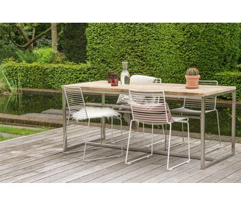 'Alta' Industriele tafel steigerhouten blad/RVS frame