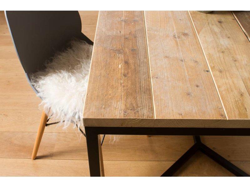 "PURE wood design ""Farstad"" Table en pin recyclé/de cadre en acier croix"