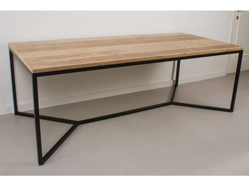 """""""Farstad"""" Table en pin recyclé/de cadre en acier croix"""
