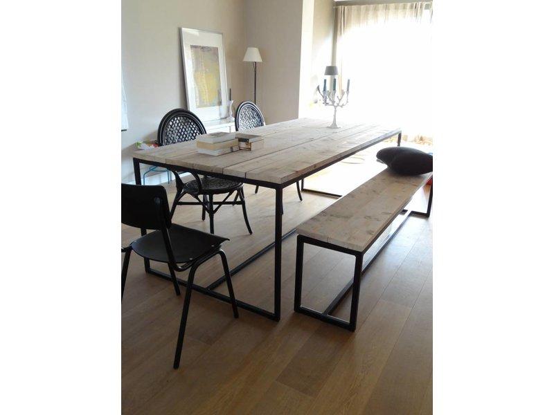 PURE wood design 'Brandal' industriële bank steigerhout met stalen frame