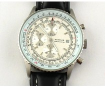 Parnis 40mm Pilot chronograaf wit met zwarte band