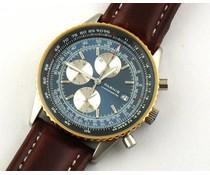 Parnis 40mm Pilot chronograaf blauw met bruine band