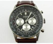Parnis 40mm Pilot chronograaf zwart met bruine band