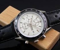 Parnis 40mm Chronograaf wit met zwarte band