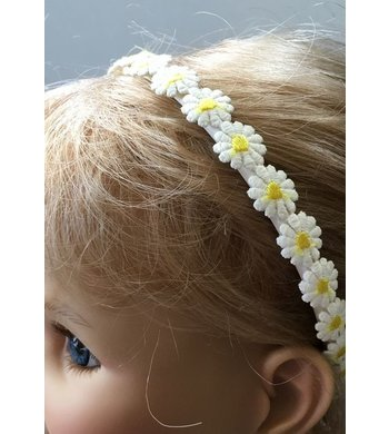 Meisjesfeest Art Collection diadeem met margrietjes offwhite