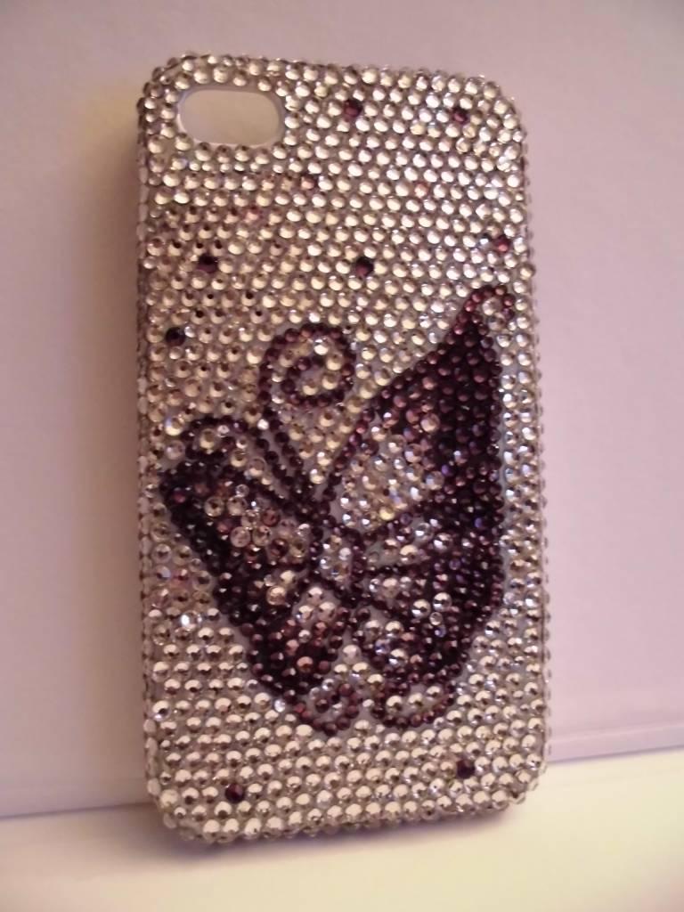 Unieke vlindercase van echt kristal voor de iphone 4(s)