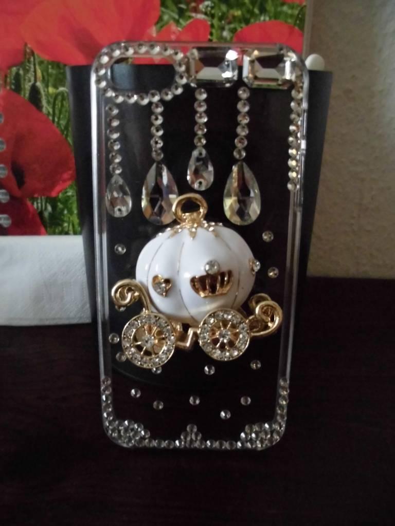 Iphone 5 schattige pompoenen koets met echte kristallen