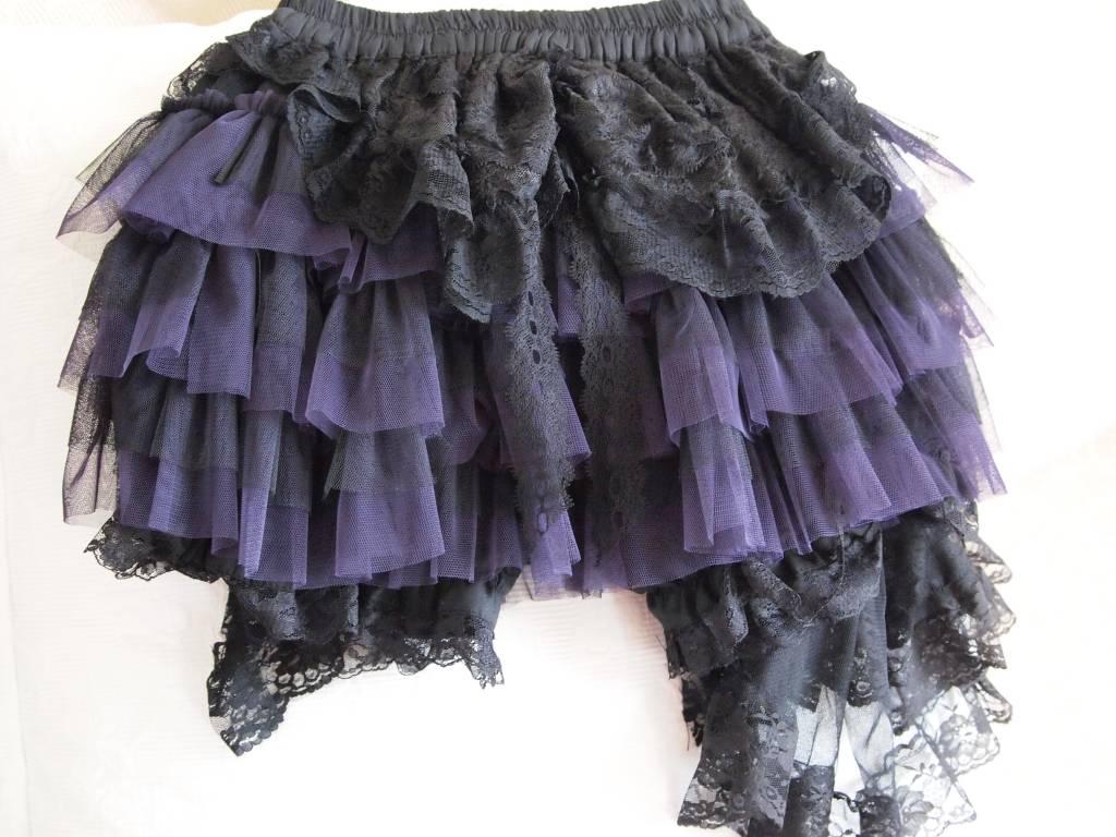 Lolita zwarte/paarse rok met kant