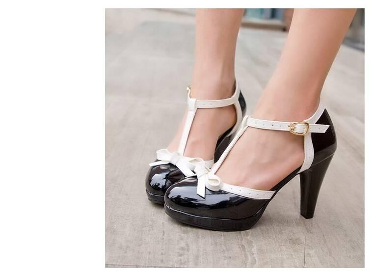 Lolita zwart/witte hoge hak schoen