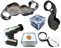 Various magnifiers and storage boxes