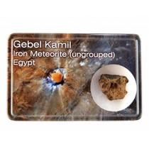 Gebel Kamil meteorite in display box