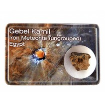 Gebel Kamil meteorite in display box