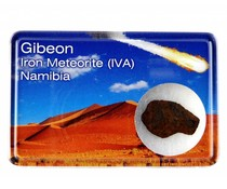 Gibeon meteorite in display box