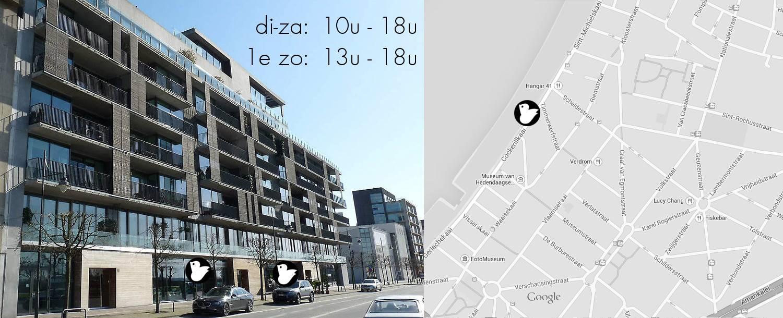 met zicht op de Schelde tussen Scheldestraat en M KHA. Gemakkelijk parkeren voor de winkel!