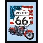Printed Mirror Route 66 Motor USA Flag