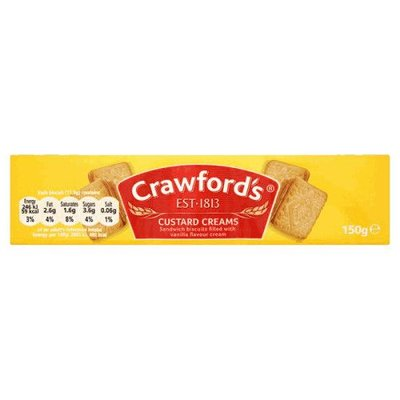 SHORTER BBD: Crawfords Custard Creams 150 grams