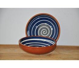 Schaal blauw met witte cirkels van Spaanse keramiek