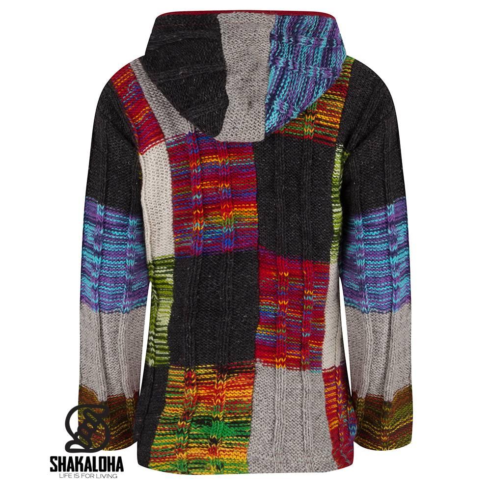 shakaloha patchwork farbenfrohe damenstrickjacke mit kapuze im stylischen rippenstrickmuster. Black Bedroom Furniture Sets. Home Design Ideas