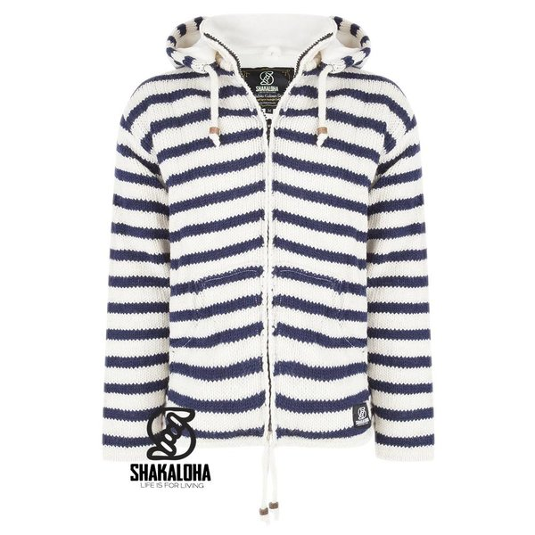 Shakaloha Shakaloha Split Ziphood weiÌÎ̪ dunkelblau gestreifte Strickjacke mit abnehmbarer Kapuze fÌÎ_r MÌÎ_nner oder Unisex