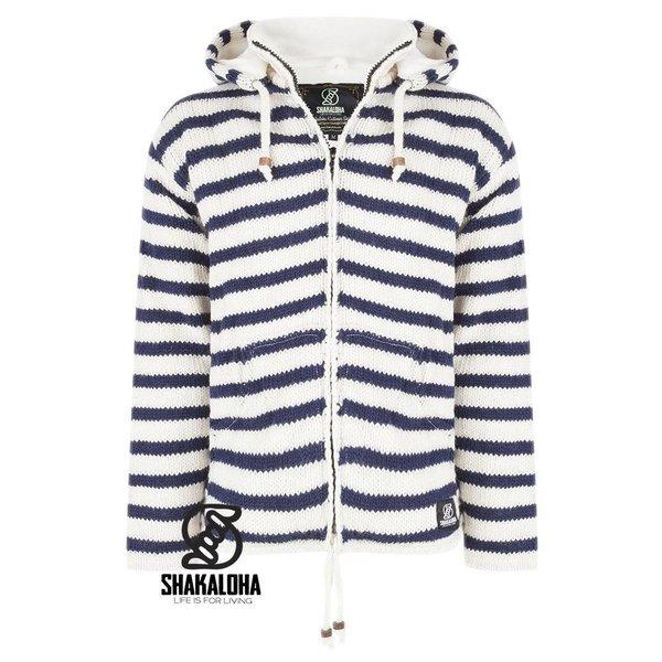 Shakaloha Shakaloha Split Ziphood weiÌÙ dunkelblau gestreifte Strickjacke mit abnehmbarer Kapuze fÌ_r MÌ_nner oder Unisex