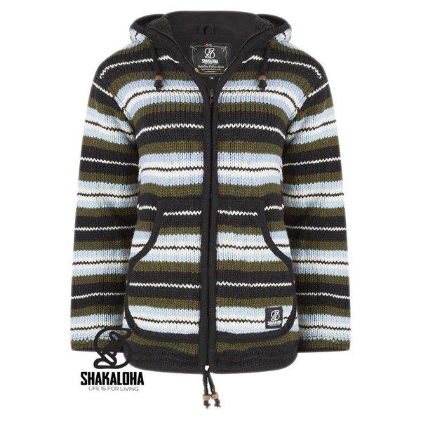 Shakaloha Pilgrim Kapuzenjacke aus handgestrickter Schafwolle aus Nepal grÌ_n-blau gestreift fÌ_r Damen