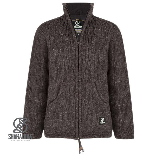 Shakaloha New Harta Choco Brown Knit nepalese jacket without hood