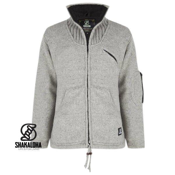 Shakaloha Shakaloha Parsa Classic Grey Wool Jacket Knit without hood, fleece lined