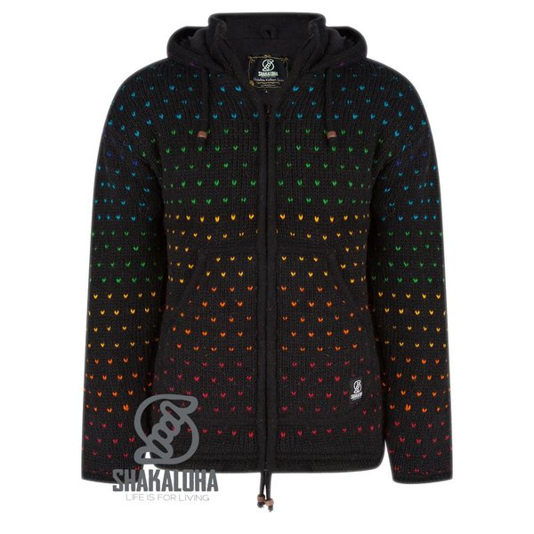 Shakaloha Black Knitted Wool Jacket with high lighted dots, fixed hoody