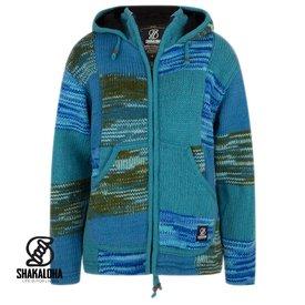 Shakaloha Patchwork Aqua blaue Wolljacke