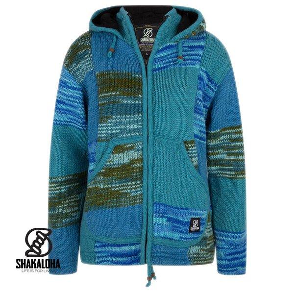 Shakaloha Shakaloha Patchwork Aqua blaue Wolljacke fÌ_r Damen und Herren