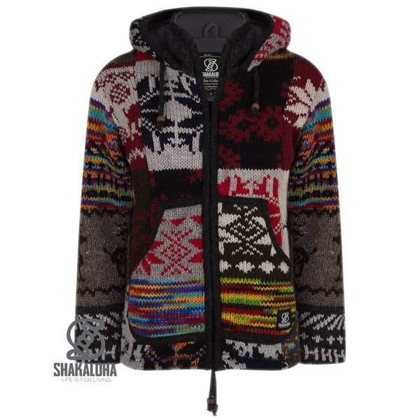 Shakaloha Shakaloha Patchwork Happy Nepalese Knit Woollen Jacket with fleece inside lining for Women