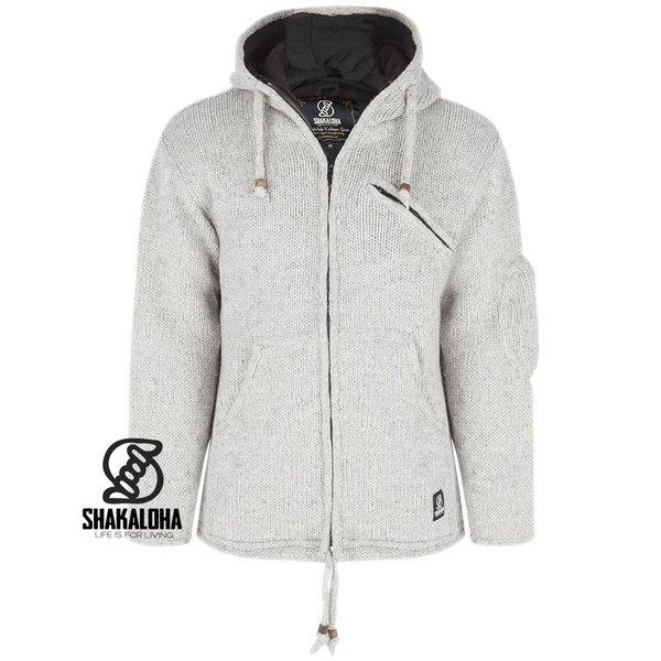 Shakaloha Chitwan Classic Grey Wool Jacket with fleece lining and fixed hood