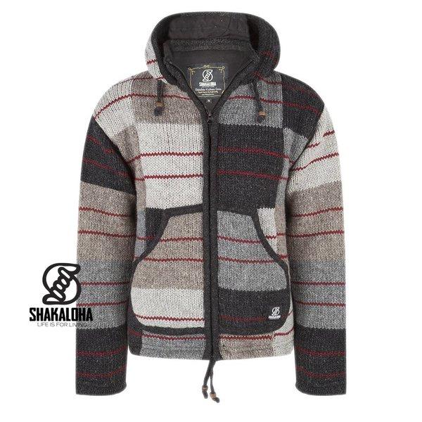 Shakaloha Handknitted Wool Jacket Patchwork Fade Natural Man or Unisex