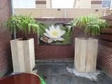 Hoge bloembak steigerhout
