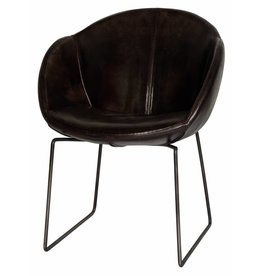 Lifestyle Dining Chair Los Angeles Leder Gun Metal