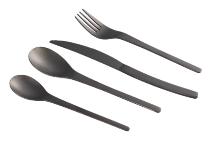 PTMD Retro mat black polished cutlery set of 24