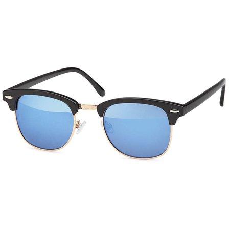 Zwarte Clubmaster Zonnebril Blauw