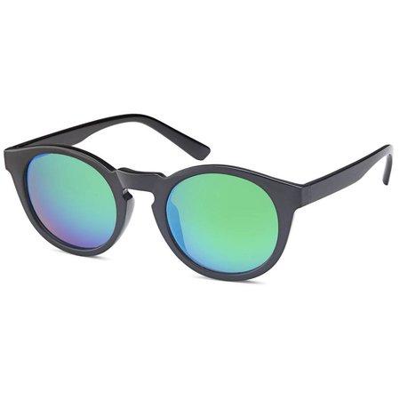 Ronde Unisex Zonnebril Blauw Groene Glazen