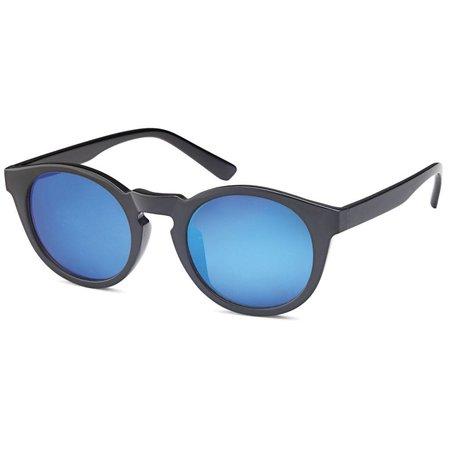 Ronde Unisex Zonnebril Blauwe Glazen