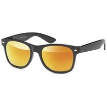 Zwarte Heren Zonnebril Gouden Glazen