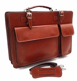 Italian leather briefcase model -201701- genuine leather - light brown 7139e0ebb8951
