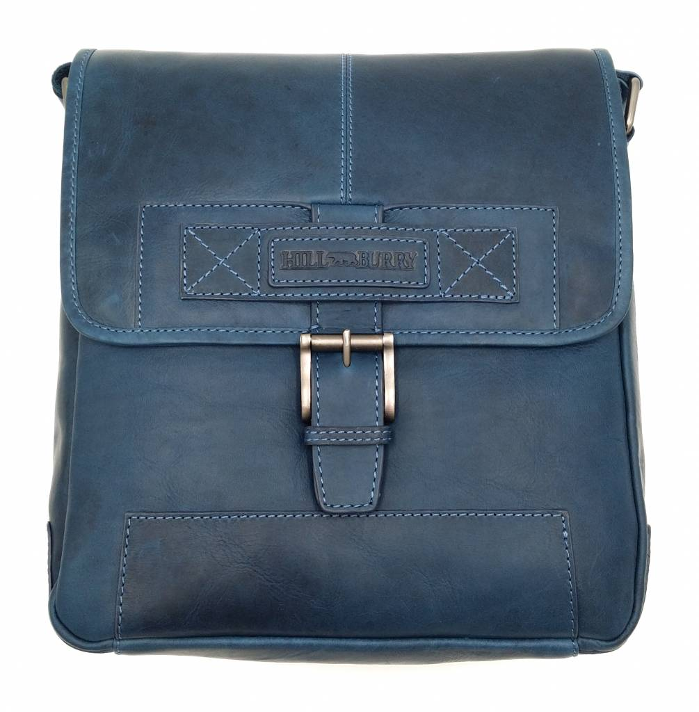 Hill Burry Hill Burry - VB10023 -2089 - real leather - Shoulder  -crossbodytas- firm - vintage leather blue - Bestleder.com