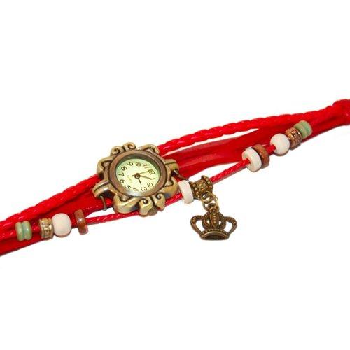 Huismerk Classic Wrap Armband Horloge Kroon Rood
